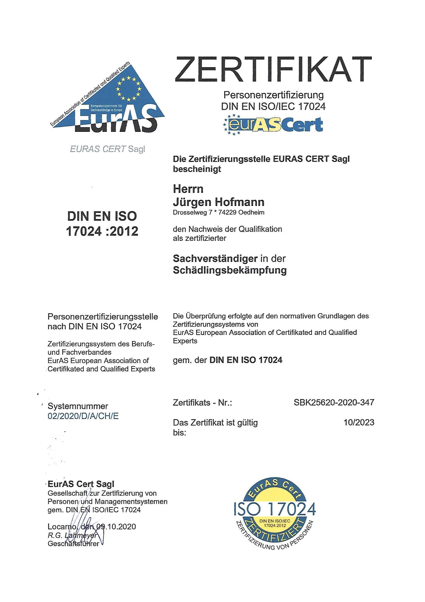 Zertifizierter Sachverständiger für Schädlingsbekämpfung gem. DIN EN ISO/IEC 17024 Schädlingsbekämpfung Hofmann Oedheim